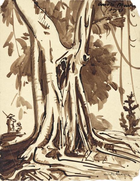 Indochine, Personnages au pied du grand arbre, vers 1920