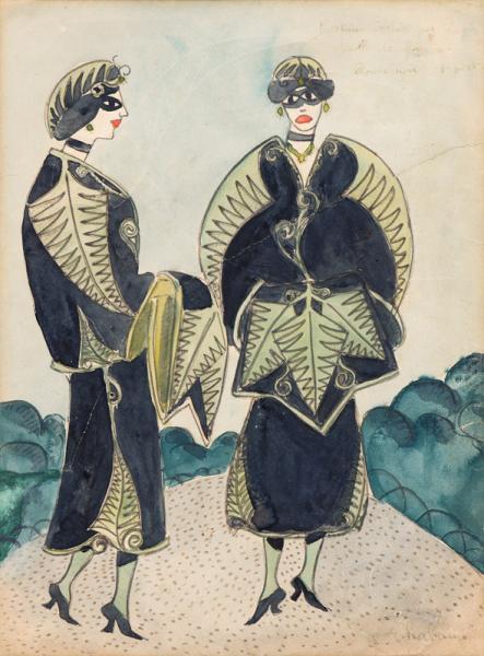 Femmes en habits de fougères, vers 1907