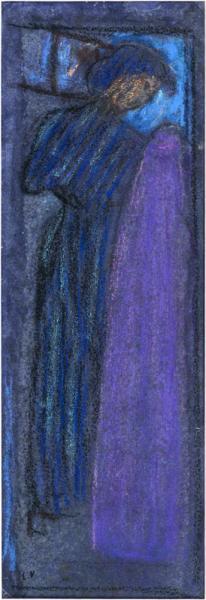 La couturière à l'étoffe mauve, effet de nuit, 1890