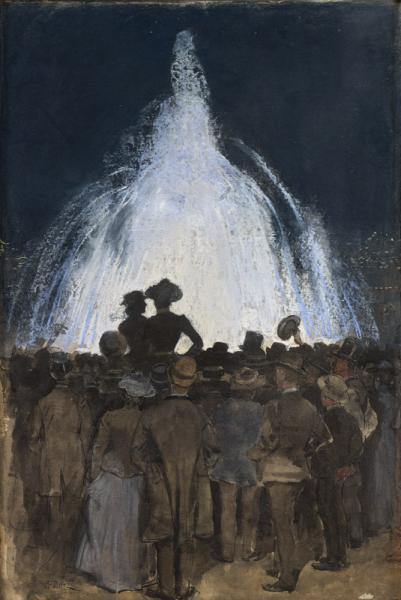 Foule devant une fontaine lumineuse.