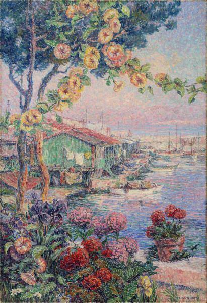 Sous les roses trémières, cabanons à la Pointe-Rouge, Marseille