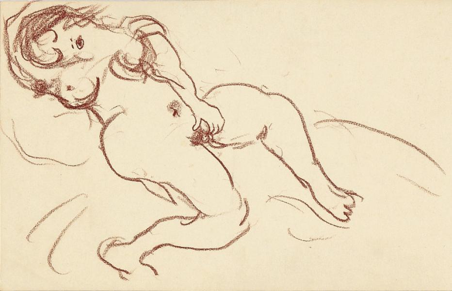 Femme nue, hippopodame, la caresse
