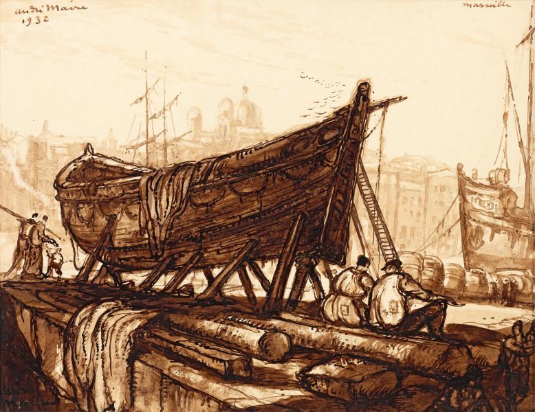 Barque au carénage, Marseille, 1932