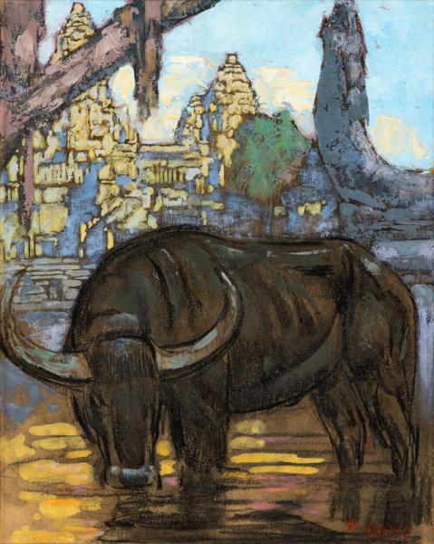 Angkor, buffle s'abreuvant, c. 1923